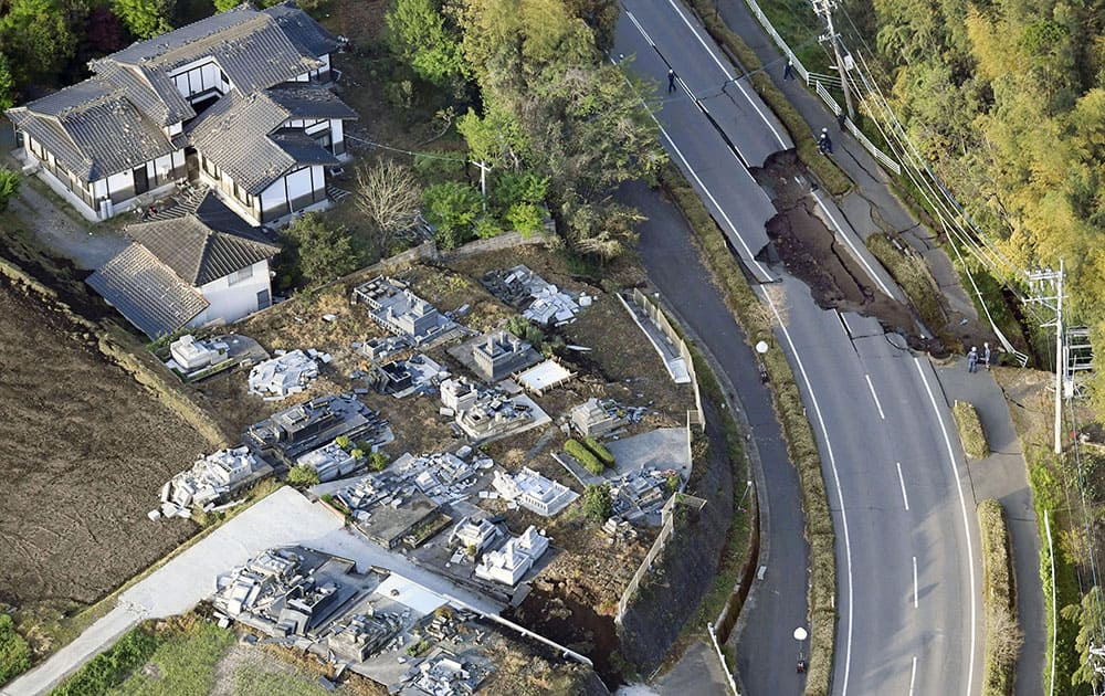 This aerial view shows damaged area of Mashiki town, Kumamoto prefecture, southern Japan.