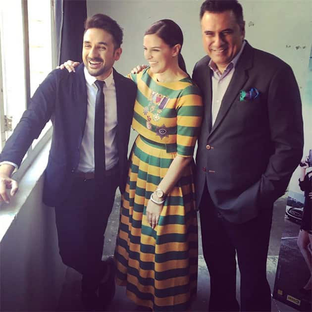 Me and our funny men ... Lots to laugh about @SantaBantaFilm @thevirdas @bomanirani #promtions .Releases #22ndapril Twitter@NehaDhupia
