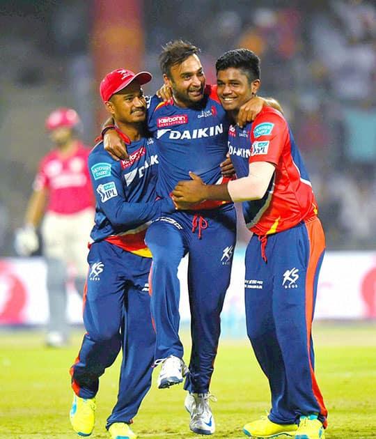 Delhi Daredevils Amit Mishra celebrate wicket of Kings XI Punjab batsman DA Miller during their IPL match at Feroz Shah Kotla Stadium in New Delhi.