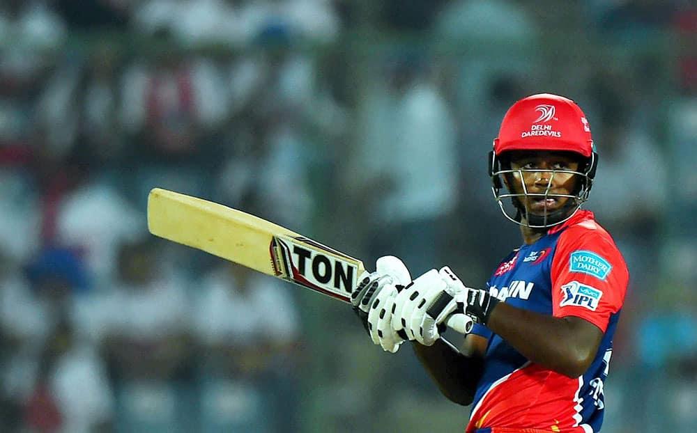 Delhi Daredevils batsman Sanju Samson plays a shot during their IPL match against Kings XI Punjab at Feroz Shah Kotla Stadium in New Delhi.