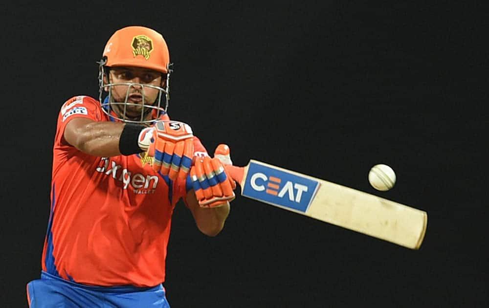 Gujarat Lions batsman Suresh Raina plays a shot during the IPL match against Mumbai Indians in Mumbai.