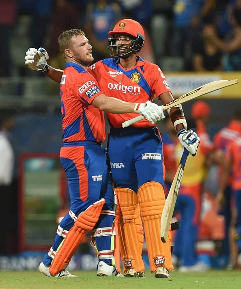 Gujarat Lions batsman A Finch celebrates victroy during the IPL match against Mumbai Indians in Mumbai.