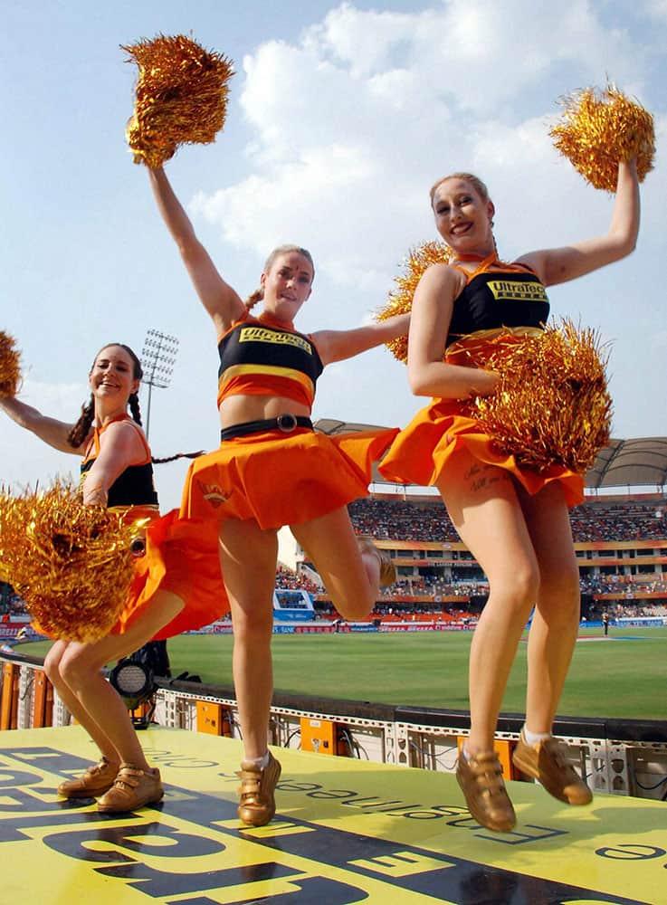 Cheerleaders dance during the IPL match between Sunrisers Hyderabad and Kolkata Knight Riders in Hyderabad.