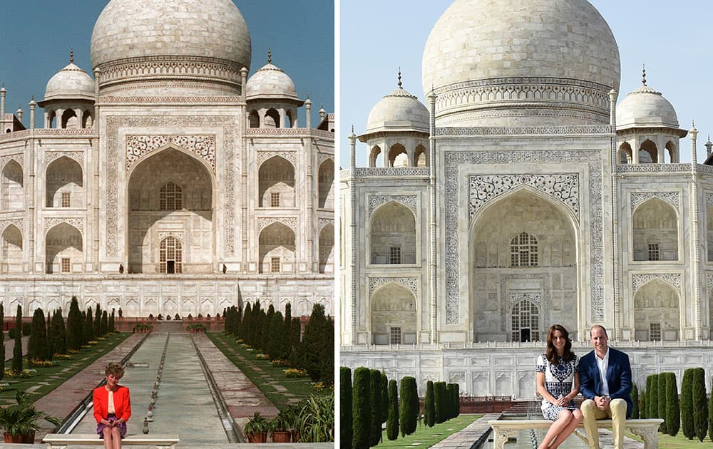 This two-picture combo shows a Feb. 11, 1992 file photo of Princess Diana sitting in front of the Taj Mahal, left, and her son Prince William sitting with his wife Kate, the Duchess of Cambridge, in the same spot, in Agra, India.