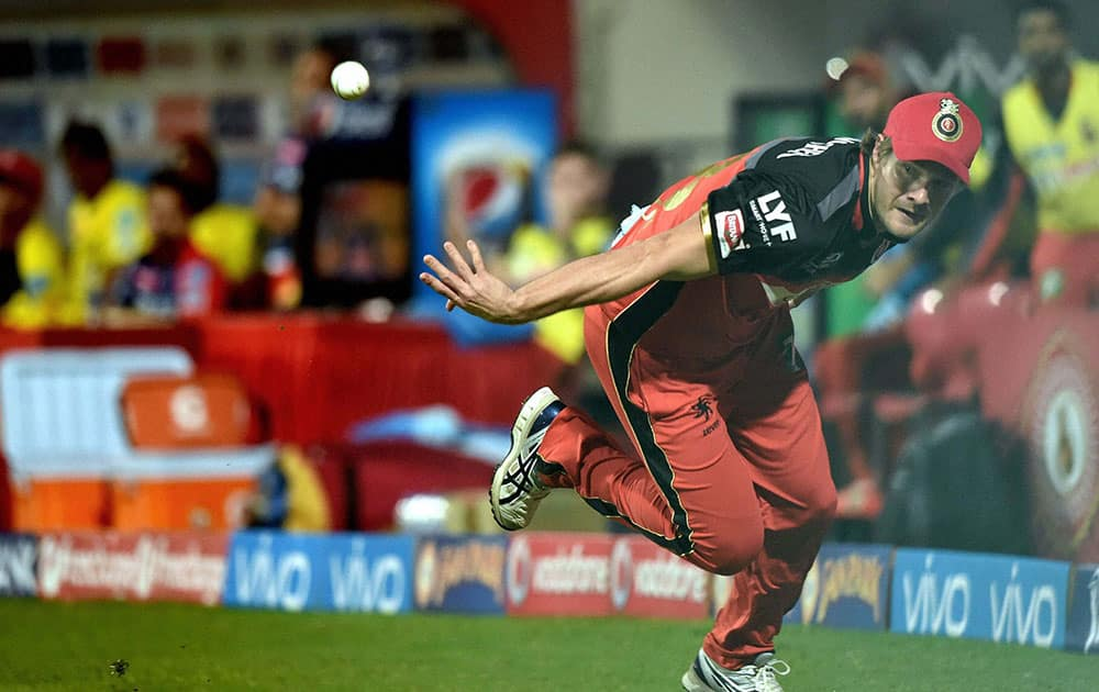 Royal Challengers Bangalore Shane Watson throws back the ball after he catched it for the wicket of Shreyas Iyer of Delhi Daredevils during Indian Premier League (IPL) 2016 T20 match in Bengaluru.