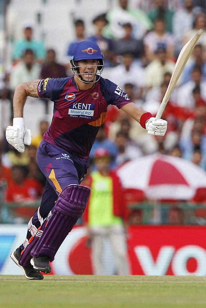 Kevin Pietersen of Rising Pune Supergiants during match 10 of the Vivo Indian Premier League ( IPL ) 2016 between the Kings XI Punjab and the Rising Pune Supergiants held at the IS Bindra Stadium in Mohali.