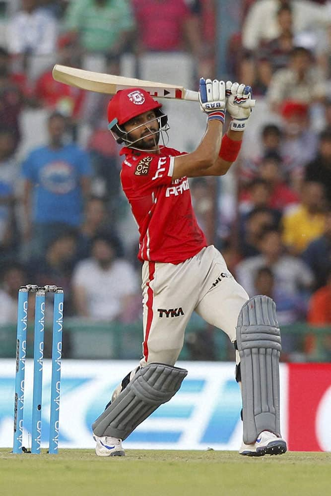 Manan Vohra of Kings XI Punjab plays a shot against Rising Pune Supergiants during Indian Premier League (IPL) 2016 T20 match in Mohali.