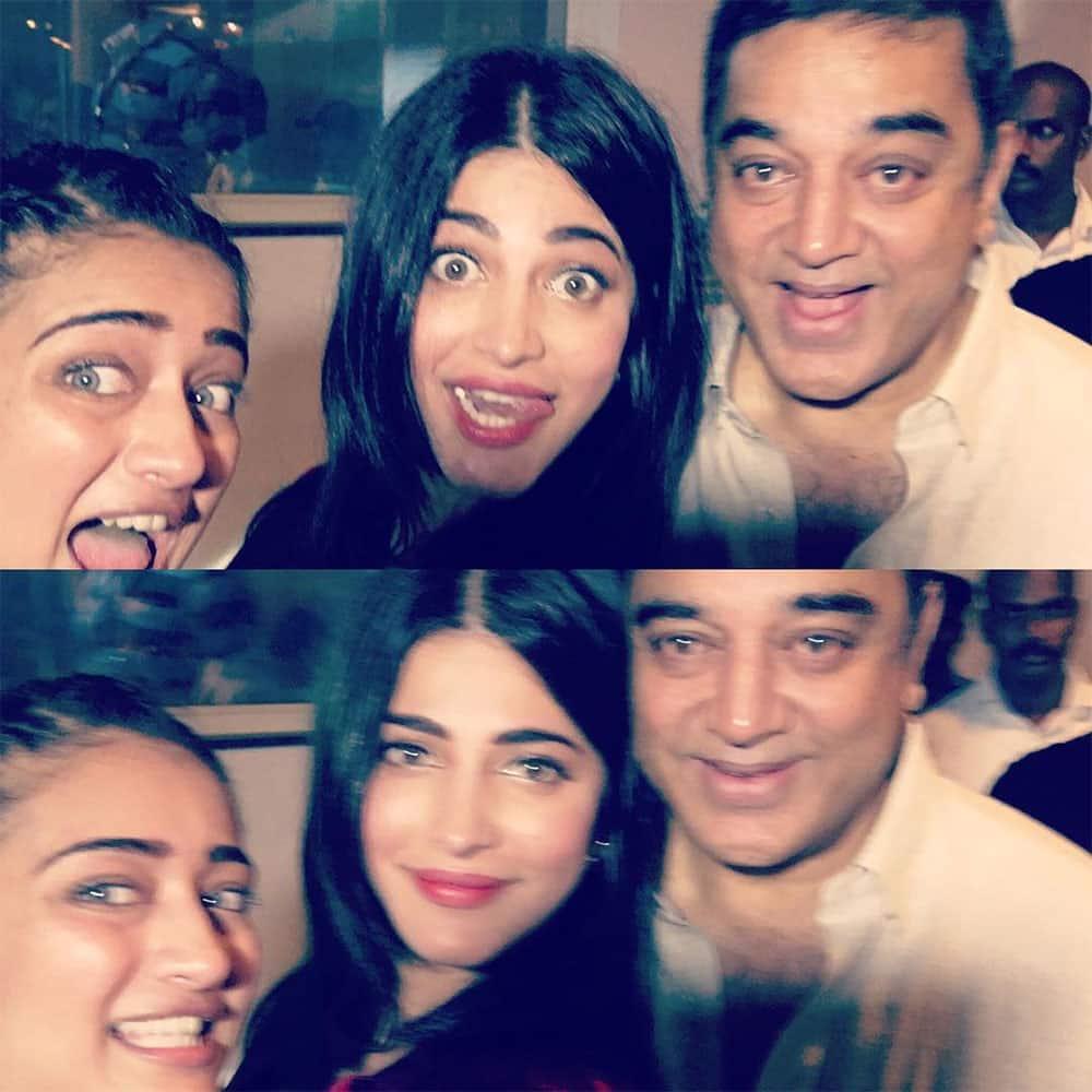 shruti haasan :- With our daddy dearest !!!! -instagram