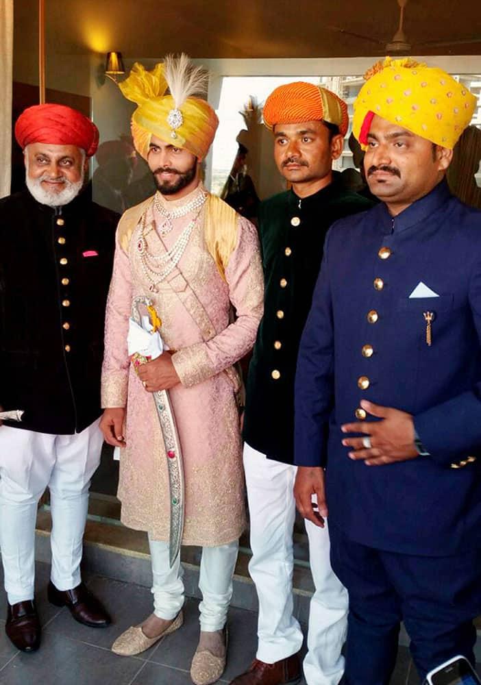 Indian cricketer Ravindra Jadeja with his relatives during his wedding ceremony in Rajkot.