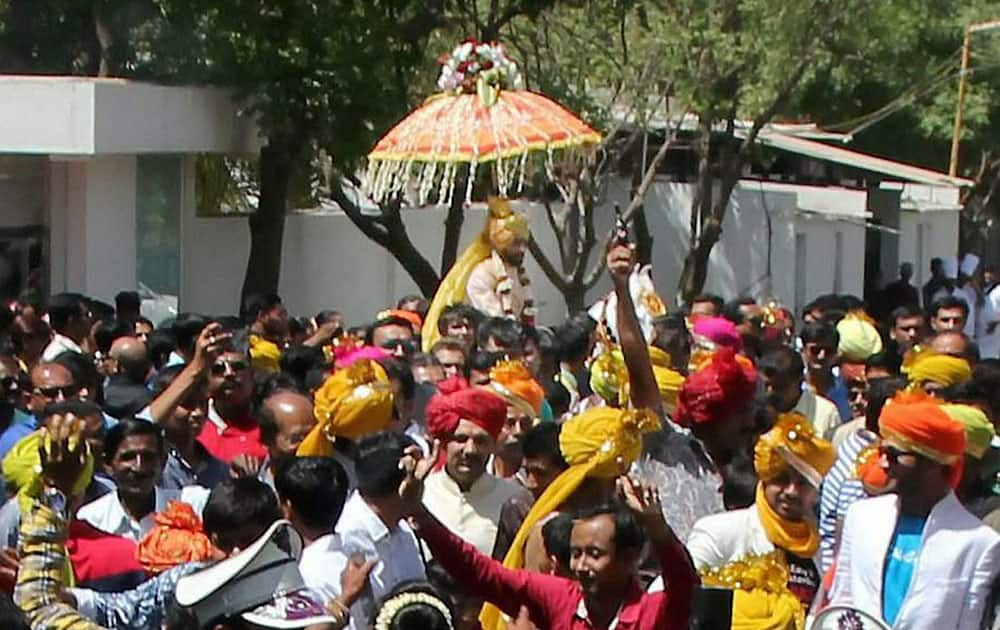 Indian cricketer Ravindra Jadeja during his wedding procession in Rajkot.