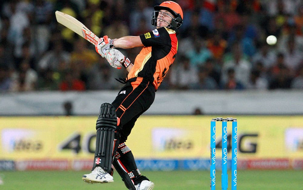 Sunrisers Hyderabad captain David Warner plays a shot against Mumbai Indians during Indian Premier League (IPL) 2016 T20 match in Hyderabad,