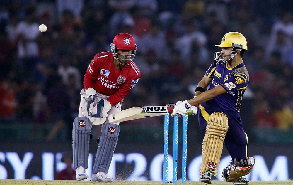 Kolkata Knight Riders captain Gautam Gambhir plays a shot against Kings XI Punjab during the Indian Premier League (IPL) 2016 T20 match , in Mohali .