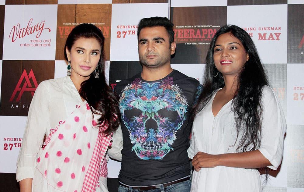 Bollywood actors Lisa Ray, Sachin Joshi and Usha Jadhav during the trailer launch of upcoming Hindi version of 'Veerappan' directed by Ram Gopal Varma, in Mumbai.