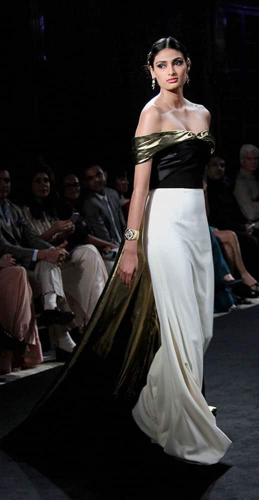 Bollywood actor Athiya Shetty during a fashion show in Mumbai.