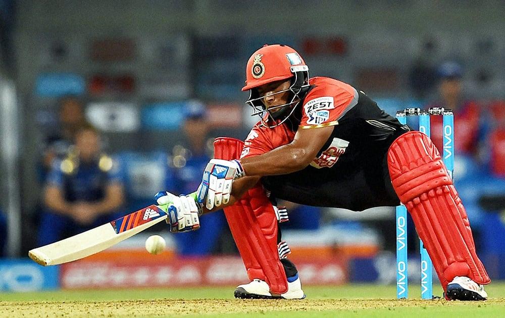 Royal Challengers Bangalores Sarfaraz Khan in action during the IPL match against Mumbai Indians in Mumbai.