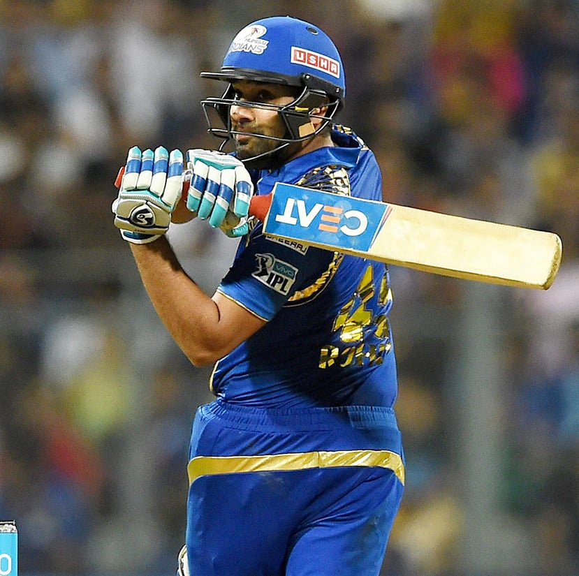 Mumbai Indians player Rohit Sharma in action during the IPL match against Royal Challengers Bangalore in Mumbai.