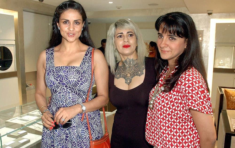 Bollywood actors Gul Panag, Shruti Seth and Hair Stylist Sapna Bhavnani at an event in Mumbai.