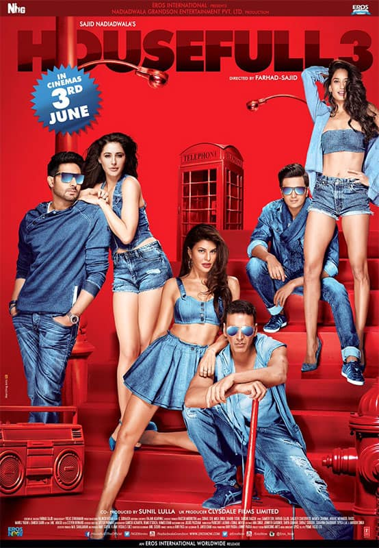Presenting our 1st #Housefull3Poster ... Drumroll...Boom! can't wait for you guys to see the film. Trailer sunday. Twitter@HaydonLisa