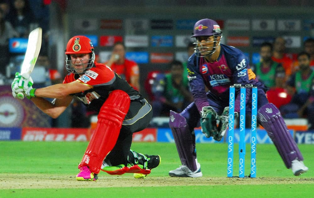Royal Challengers Bangalores AB de Villiers plays a shot against Rising Pune Supergiants during their IPL match at the Maharashtra Cricket Associations International Stadium.