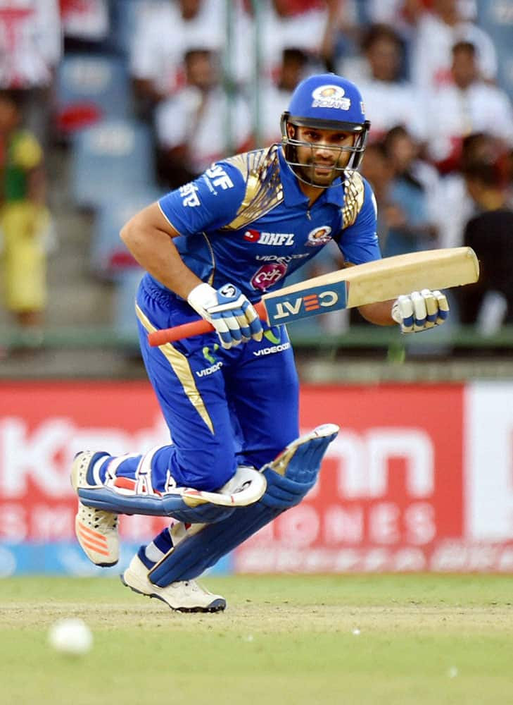 Mumbai Indians Rohit Sharma in action against Delhi Daredevils during their IPL T20 match in New Delhi.