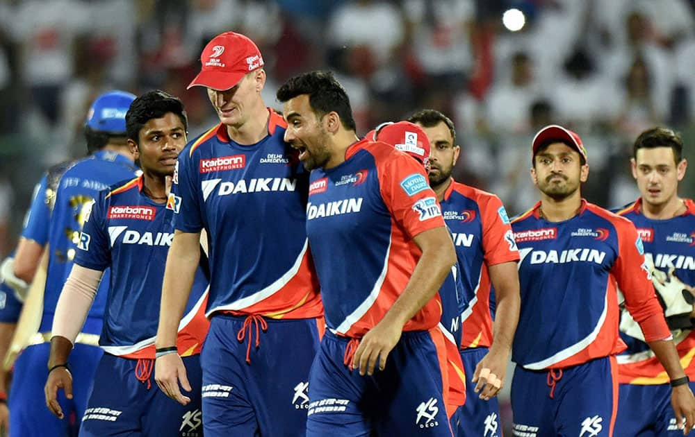 Delhi Daredevils players after their win over Mumbai Indians in the IPL T20 match in New Delhi.