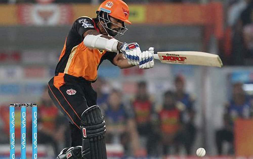 Shikhar Dhawan of Sunrisers Hyderabad plays a shot during IPL t-20 against Kings XI Punjab in Hyderabad.