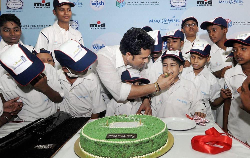 Master blaster Sachin Tendulkar celebrates his birthday with children from the Make-A-Wish India organisation in Mumbai.