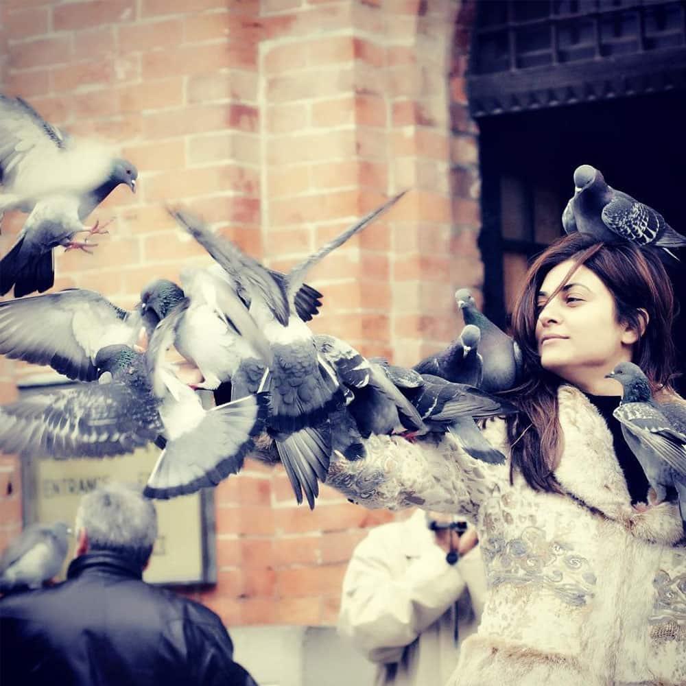 sushmita sen :- ❤ just something to make u smile through the day!!!! Romanced by pigeons #venice #memories… -instagram
