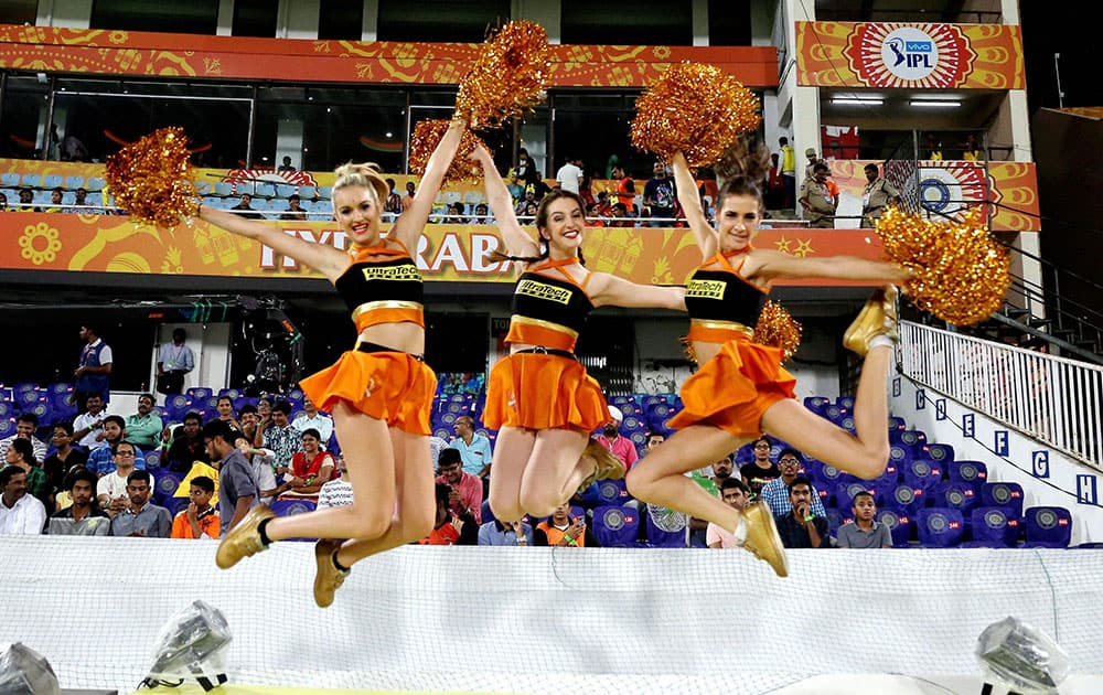 Sunrisers Hyderabad cheerleaders during during an IPL T-20 match in Hyderabad.