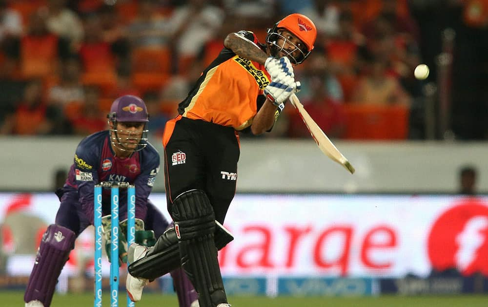 Shikhar Dhawan of Sunrisers Hyderabad plays a shot during an IPL T-20 match against Pune Supergiants in Hyderabad.