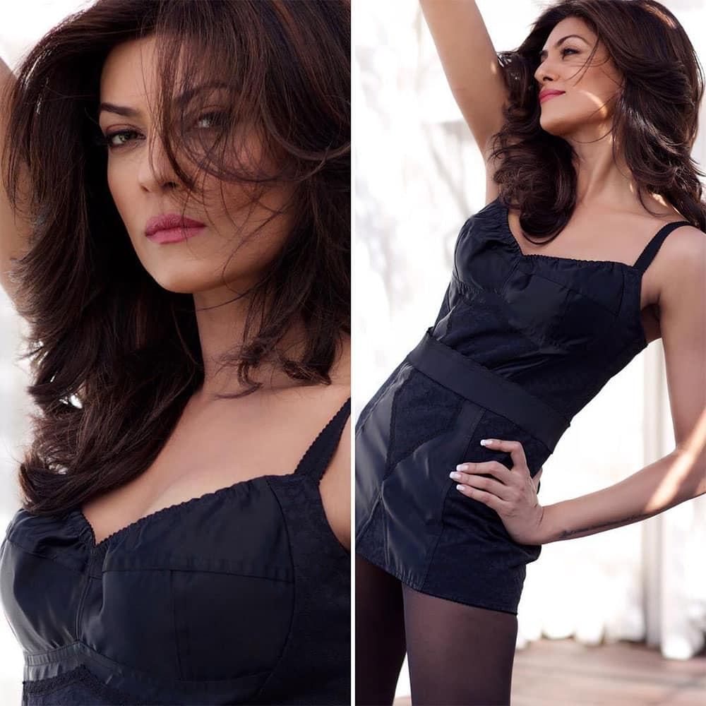 sushmita sen :- #black is my fav color!!!! wearing #dolcegabbana #italiandesigner #indiangrace ❤ #fashion… -instagram@thesushmitasen