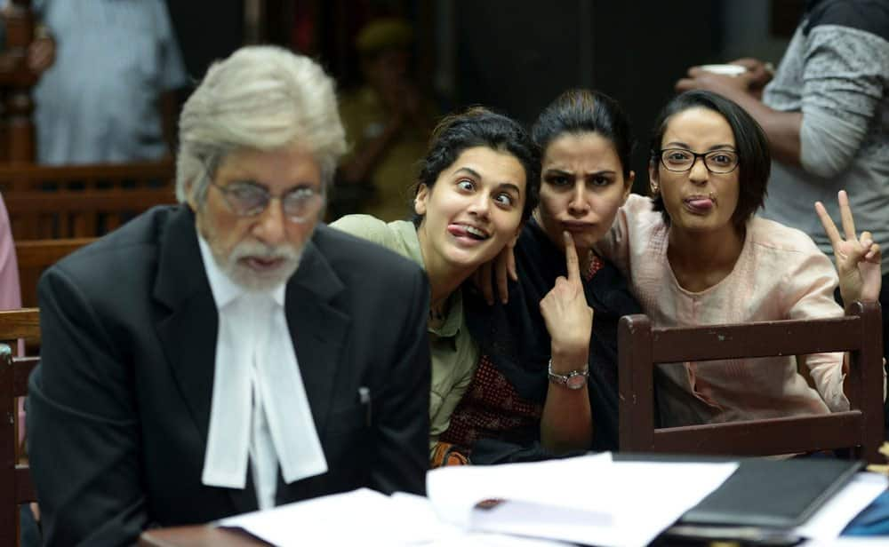 Amitabh Bachchan ‏:- T 2238 - And then you get photobombed by your colleagues !! PINK on set -twitter ‏@SrBachchan