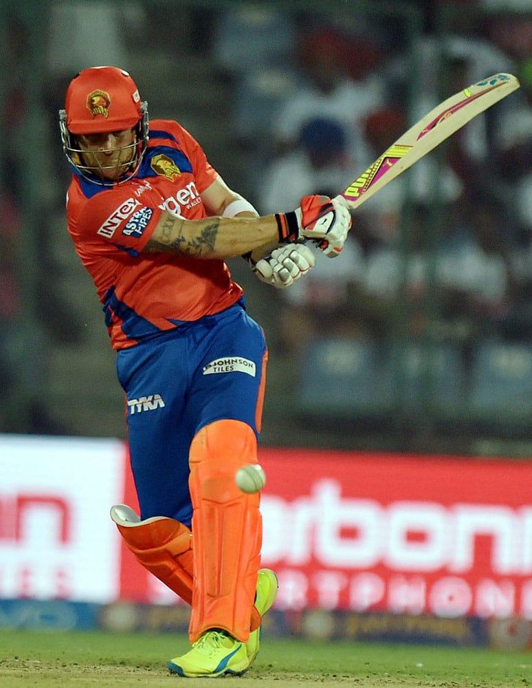 Gujarat Lions batsman B MacCullum plays a shot during an IPL T20 match between Delhi Daredevils v Gujarat Lions at Ferozshah Kotla in New Delhi.