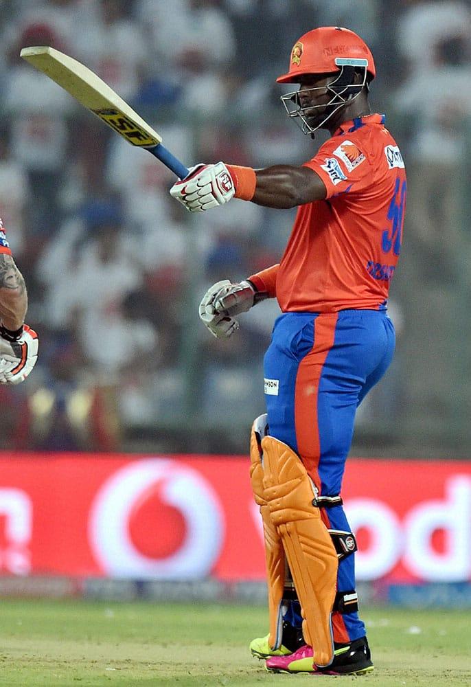 Gujarat Lions batsman D R Smith celebrates his half century during an IPL T20 match between Delhi Daredevils v Gujarat Lions at Ferozshah Kotla in New Delhi.