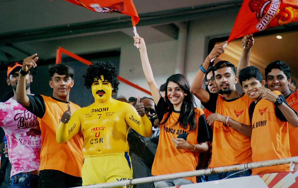 Cricket fans during IPL match between Sunrisers Hyderabad and Rising Pune Supergiants at Uppal in Hyderabad.