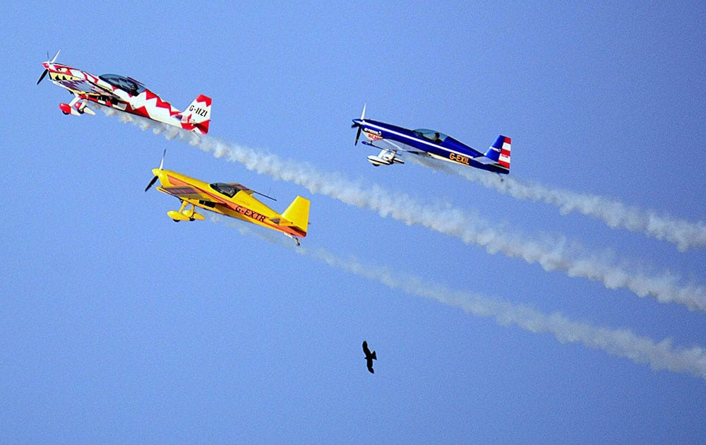 Aircrafts of the British aerobatics team Global Stars fly past birds during the rehershal of an air show in Ahmedabad.