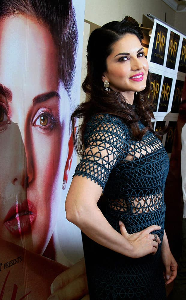 Actress Sunny Leone poses during the promotion of her new film One Night Stand in New Delhi.