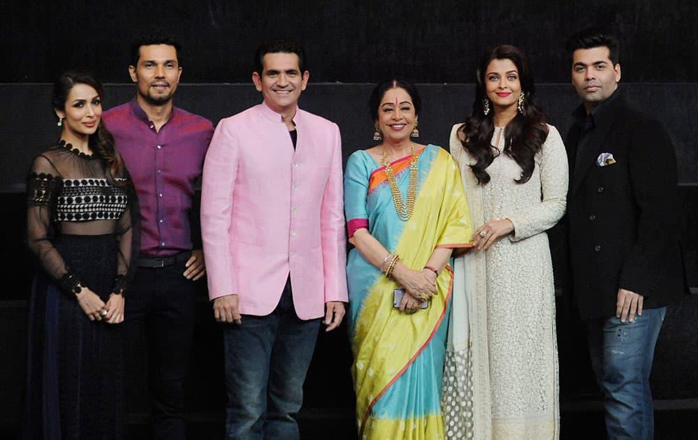 Bollywood Actors Aishwarya Rai Bachchan, Malaika Arora Khan, Randeep Hooda, Kirron Kher and director & producer Karan Johar during the promotion of their film Sarabjit at a TV show set.