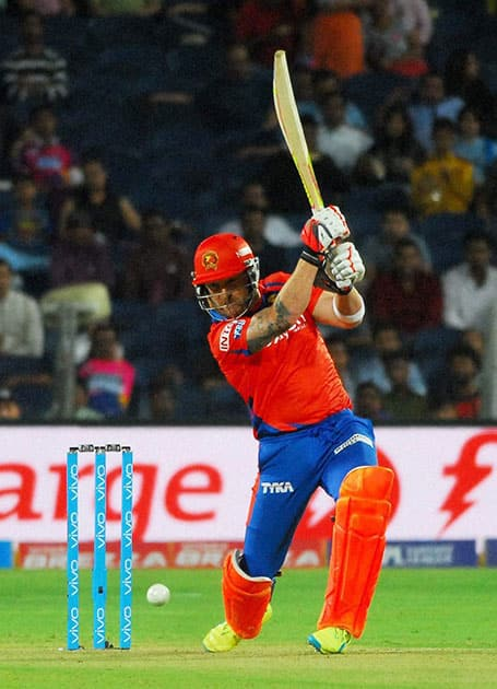 Gujarat Lions s BB McCullum plays a shot against Rising Pune Supergiants during an IPL match in Pune.