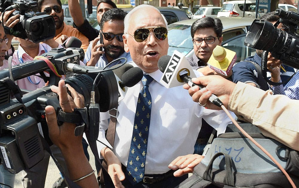 Former Air Chief Marshal S.P. Tyagi arriving at the CBI headquarters in New Delhi on Monday,in connection with alleged corruption in the 3,600 crore AgustaWestland choppers deal.