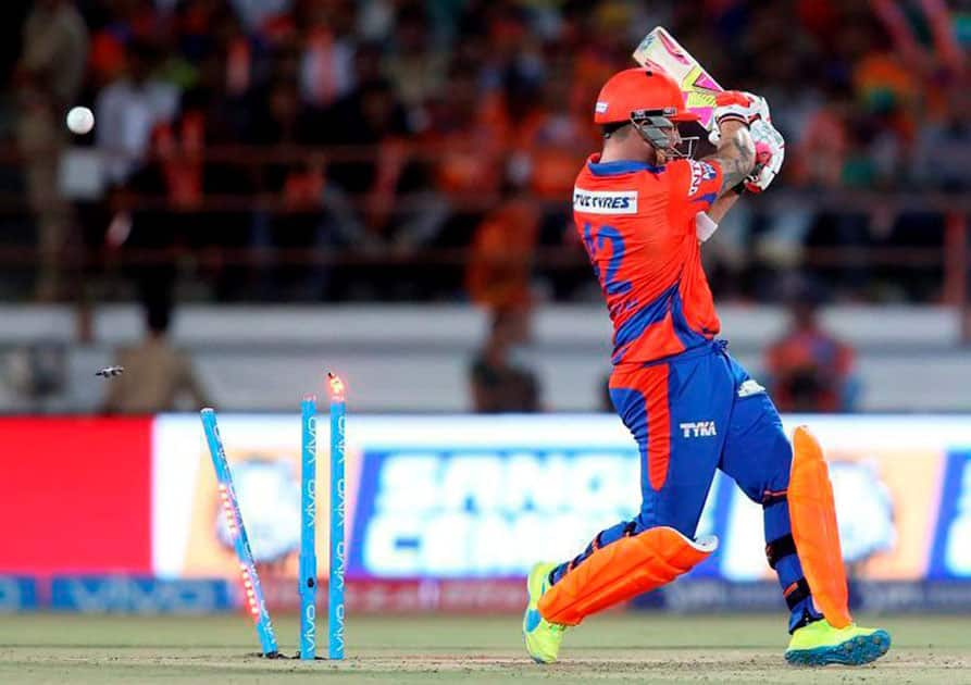 Brendon McCullum of Gujarat Lions gets clean bowled by Delhi Daredevils Zaheer Khan during an IPL 2016 match in Rajkot.