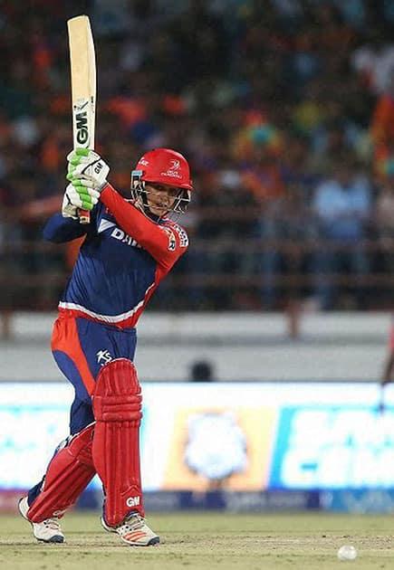 Quinton de Kock of Delhi Daredevils plays a shot during IPL 2016 match against Gujarat Lions in Rajkot.