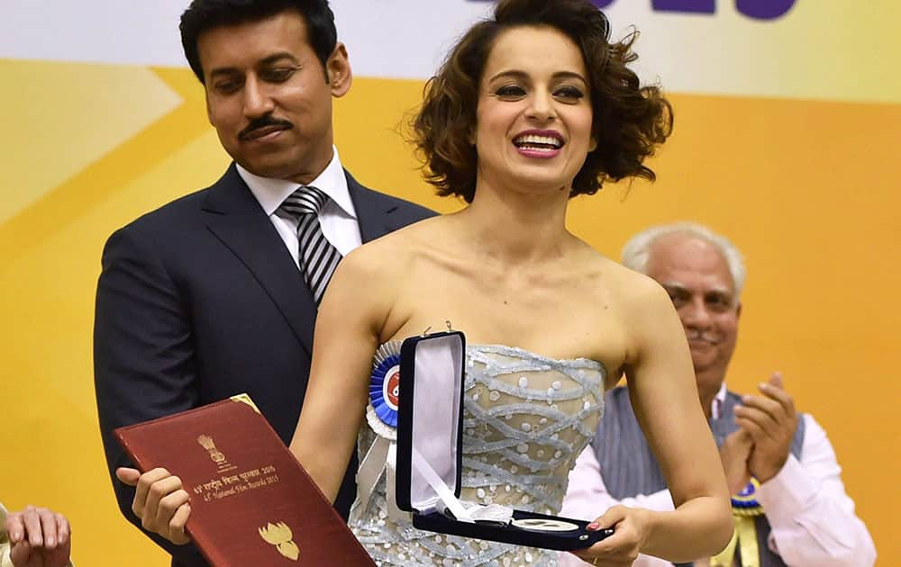 Actress Kangana Ranaut after receiving the Best Actress award at the 63rd National Film Awards 2015 function in New Delhi.