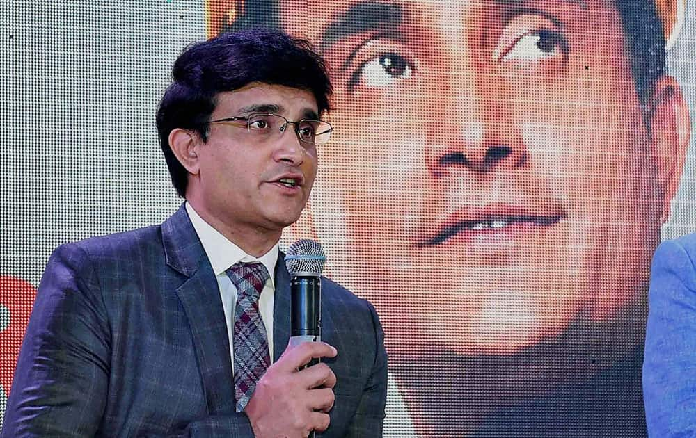 Former cricketer Sourav Ganguly speaks after being announced as the new Brand Ambassador for Burnpur Cement in Kolkata.