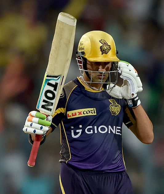 KKR batsman Gautam Gambhir acknowledging crowds after complete his half century during IPL match against Kings XI Punjab at Eden Garden in Kolkata.