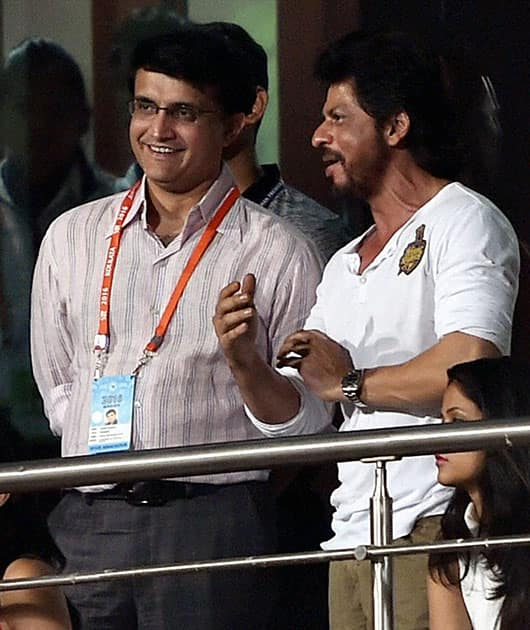 KKR owner Shahrukh Khan with CAB President Sourav Ganguly watching his teams IPL Match at Eden Garden in Kolkata.