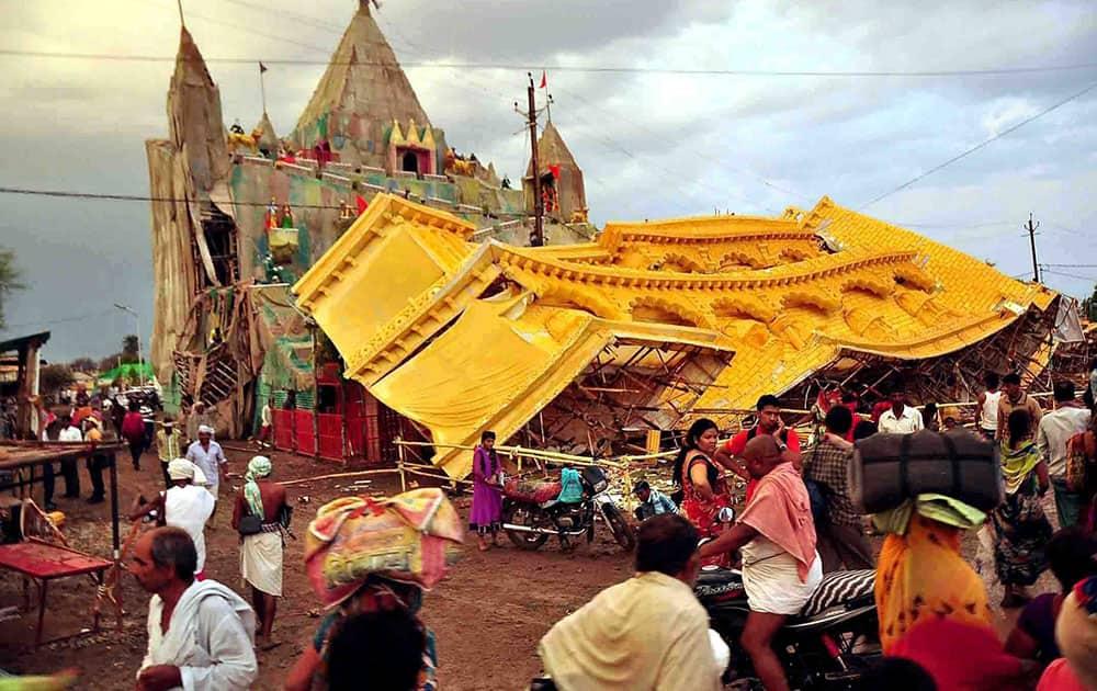 A view of damaged pandal after heavy rains and storm during Simhashta Maha Kumbh Mela in Ujjain.