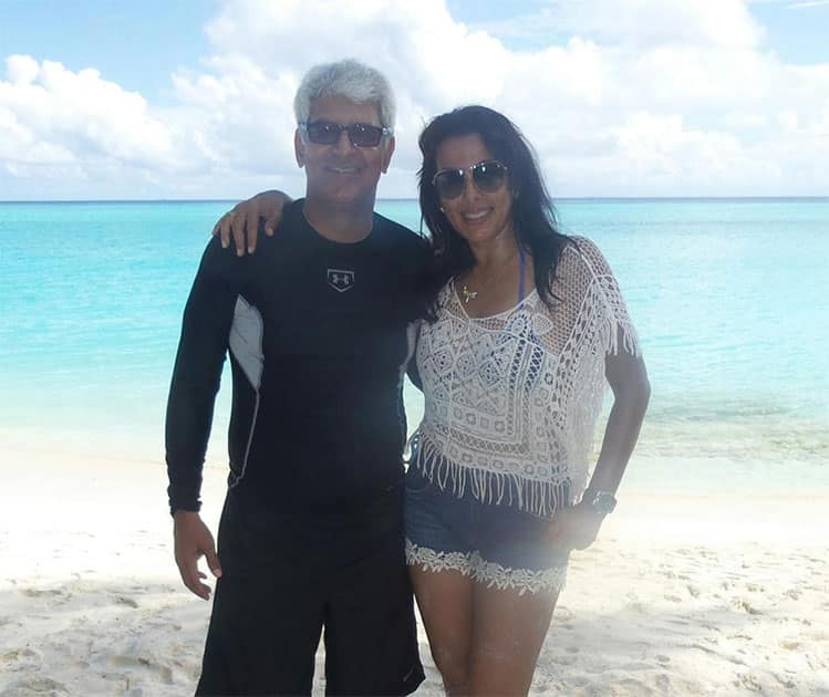Sooooo thrilled to be in BEAUTIFUL Maldives with @amrik_r  & my son Omar... Twitter@poojabeditweets