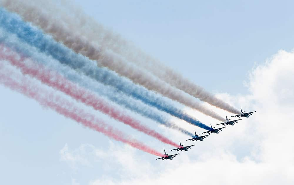 Russian Air Force jets fly over Red Square during a rehearsal for the Victory Day military parade which will take place at Moscow's Red Square on May 9 to celebrate 71 years after the victory in WWII in Moscow, Russia.