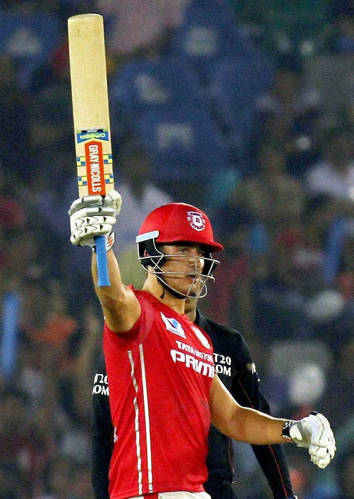 Kings XI Punjab Marcus Stoinis celebrates his half century during IPL match between the Kings XI Punjab and the Delhi Daredevils in Mohali.